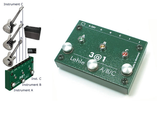 Lehle 3 at 1 SGoS A, B or C Switcher for 3 instruments to one amp