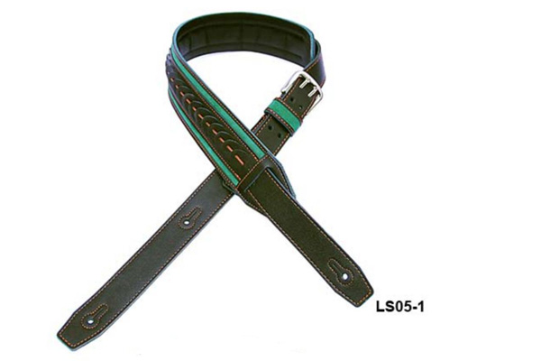 Walker & Williams Premium Leather Guitar Strap LS05-1 Green